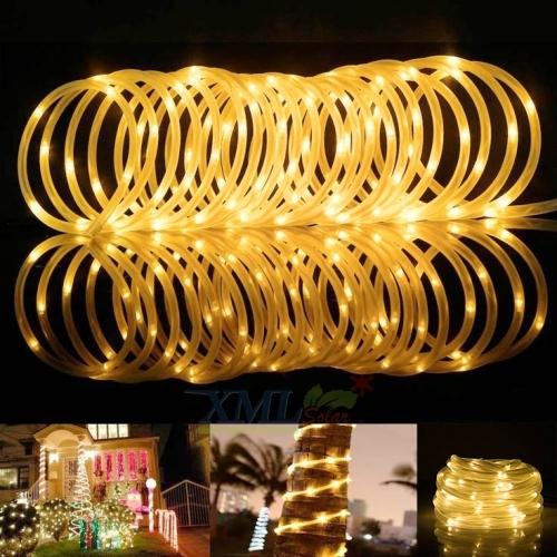 ไฟกระพริบโซล่าเซลล์ 100 LED สายขาวขุ่น (เเสง : เหลืองวอมไวท์)