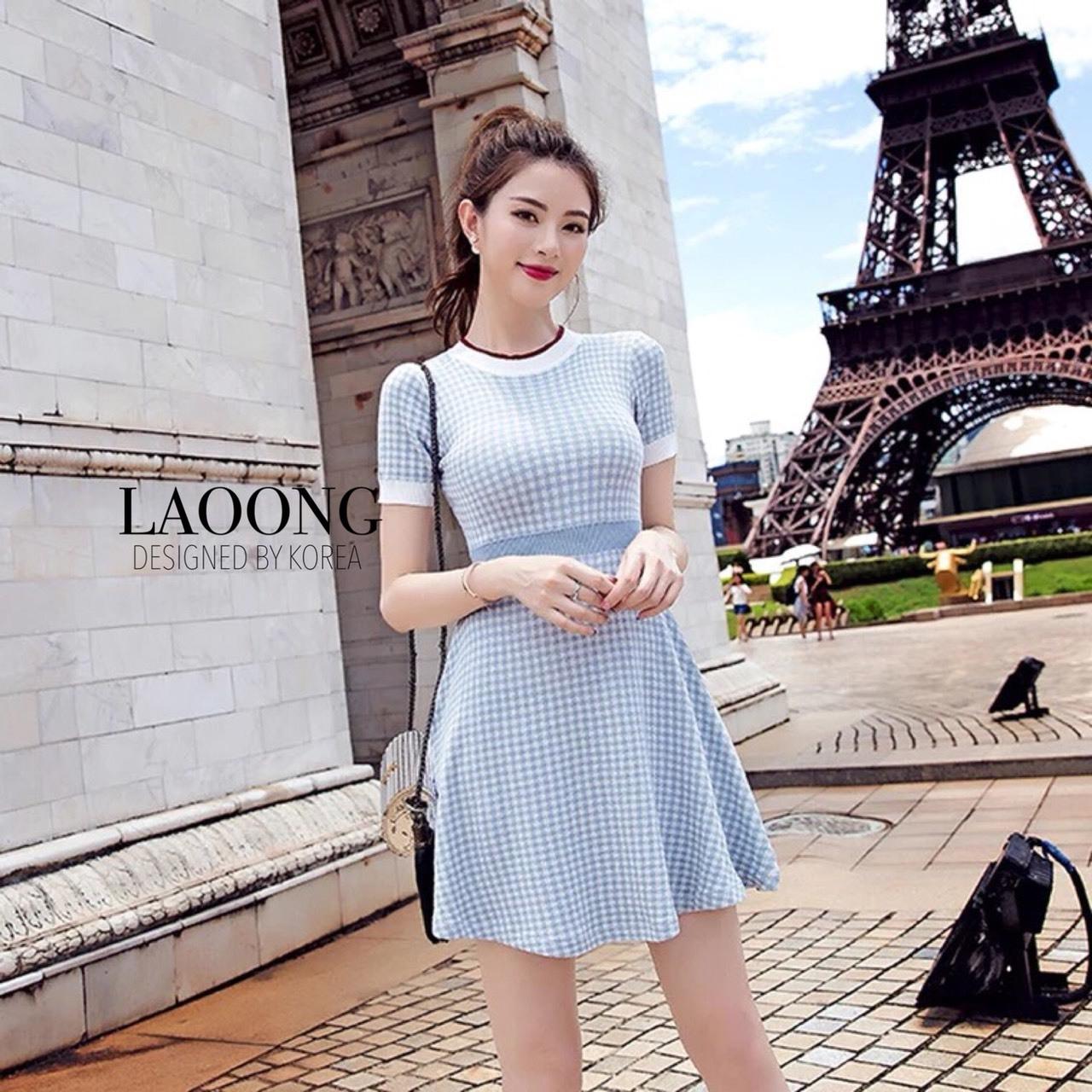 ชุดเดรสเกาหลีพร้อมส่ง Dress ไหมพรมแขนสั้นลายสก้อตสีฟ้าอ่อน