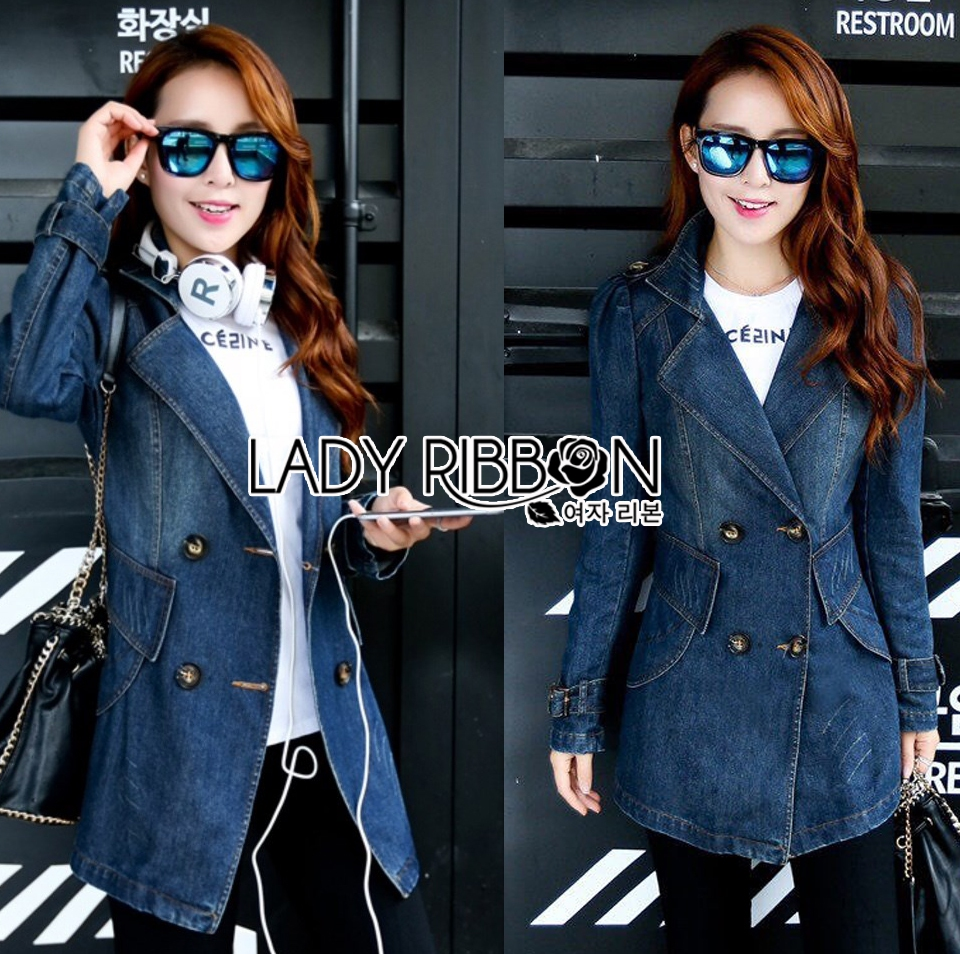 Tina Sporty Sweet Double-Breasted Denim Long Jacket