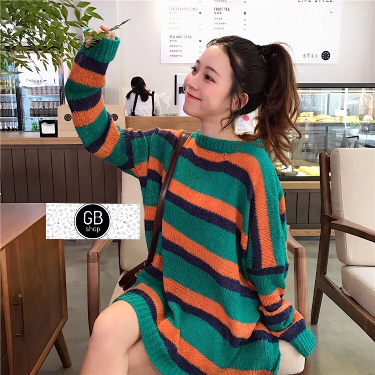 เสื้อผ้าเกาหลีพร้อมส่ง เสื้อไหมพรมแขนยาว โทนสีพาสเทล
