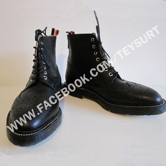 รองเท้าThom Browne Scotch Grain Wingtip Zip Boots