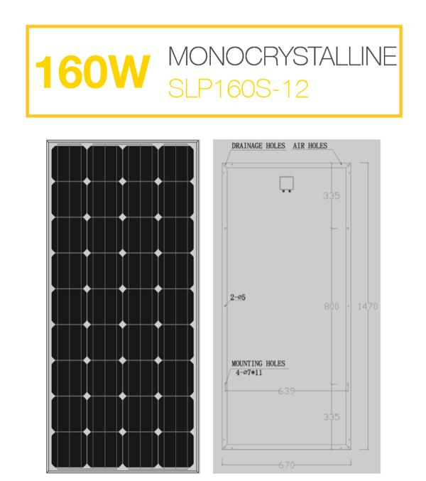 แผงโซล่าเซลล์ Solar Cell 160W Mono
