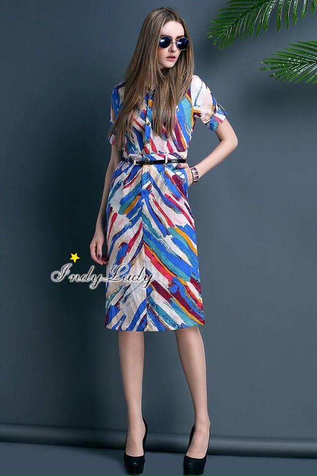 ชุดเดรสเกาหลี พร้อมส่ง เดรสพิมลายเล่นสีสันสวยมากๆ