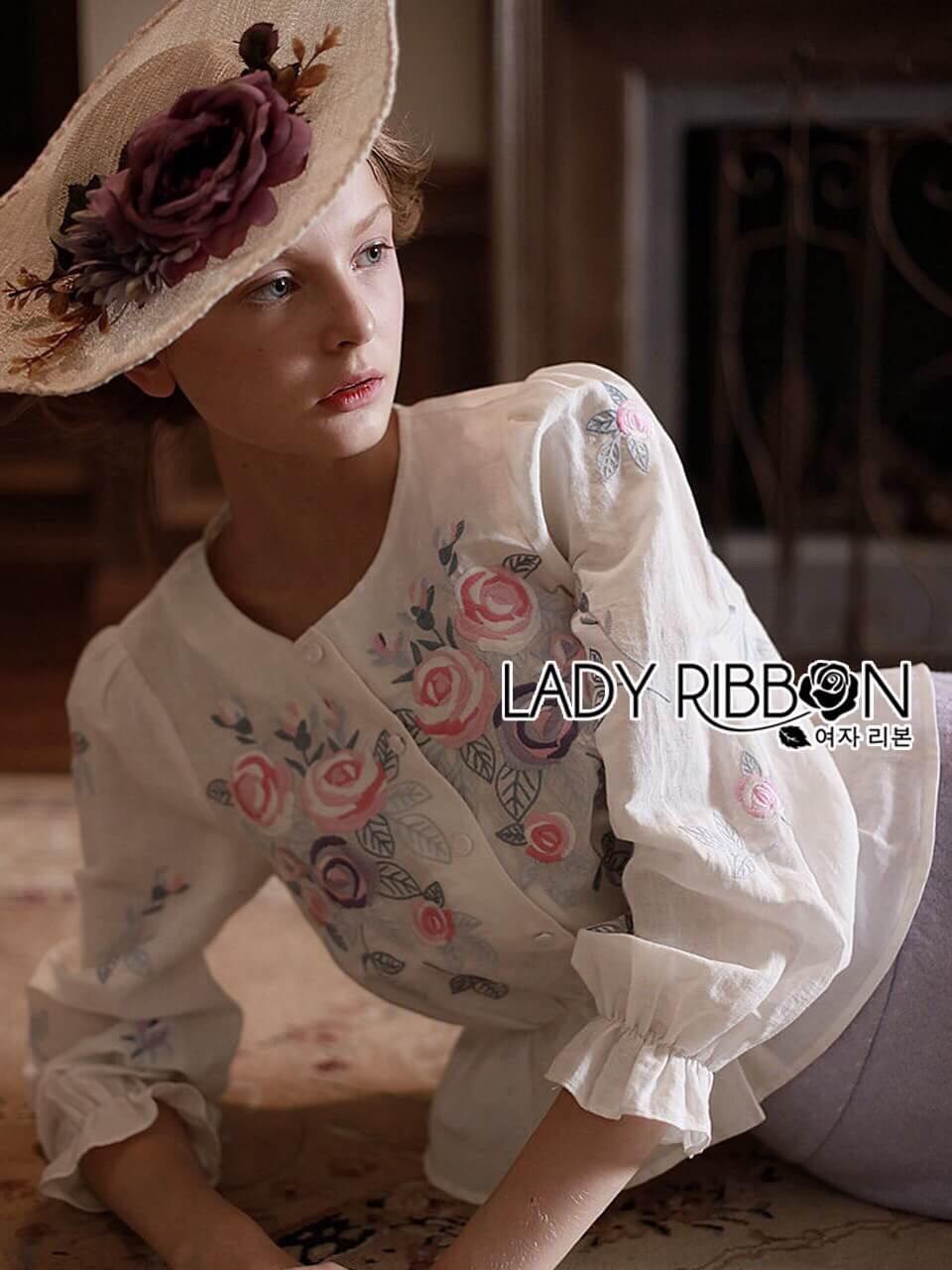 เสื้อผ้าเกาหลี พร้อมส่งเสื้อผ้าคอตตอนปักลายดอกกุหลาบสไตล์วินเทจ