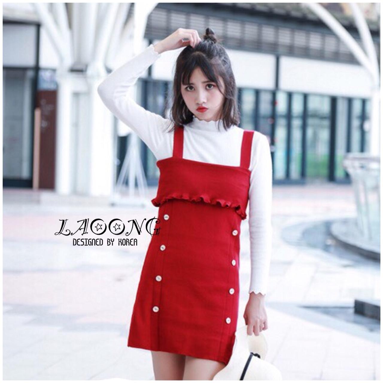 ชุดเดรสเกาหลีพร้อมส่ง Dress สีแดง ไหมพรมผ้าหนา