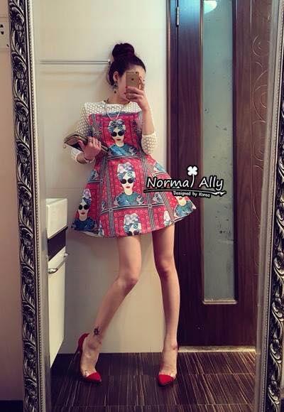 เสื้อผ้าเกาหลี พร้อมส่ง งานมินิเดรสพิมลายสกรีนหน้าผู้หญิงสไตล์ โบฮีเมี่ยน