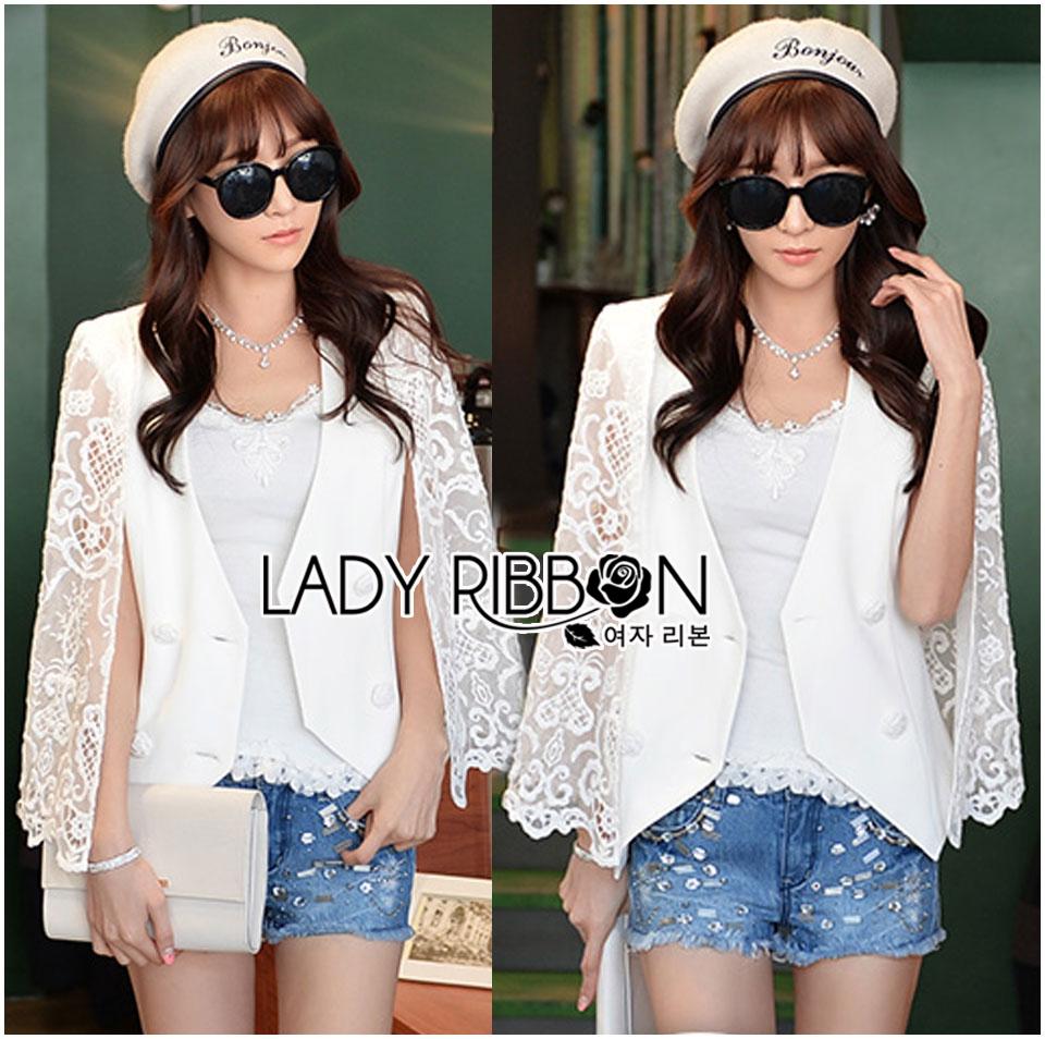 Maria Elegant Double-Breast White Lace Jacket