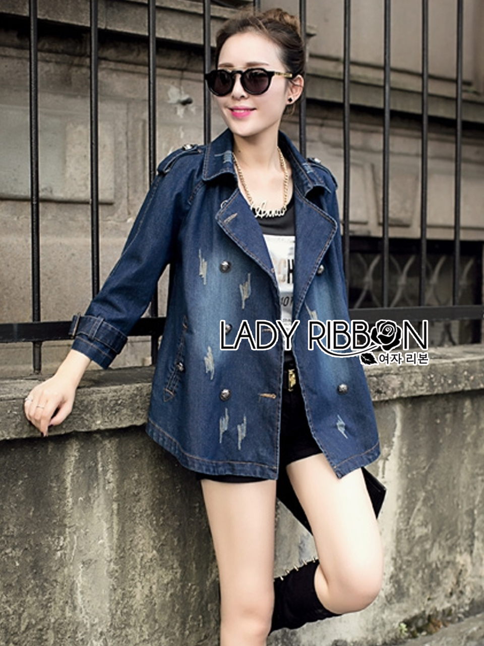 Gracie Fall Winter Double-Breasted Denim Coat
