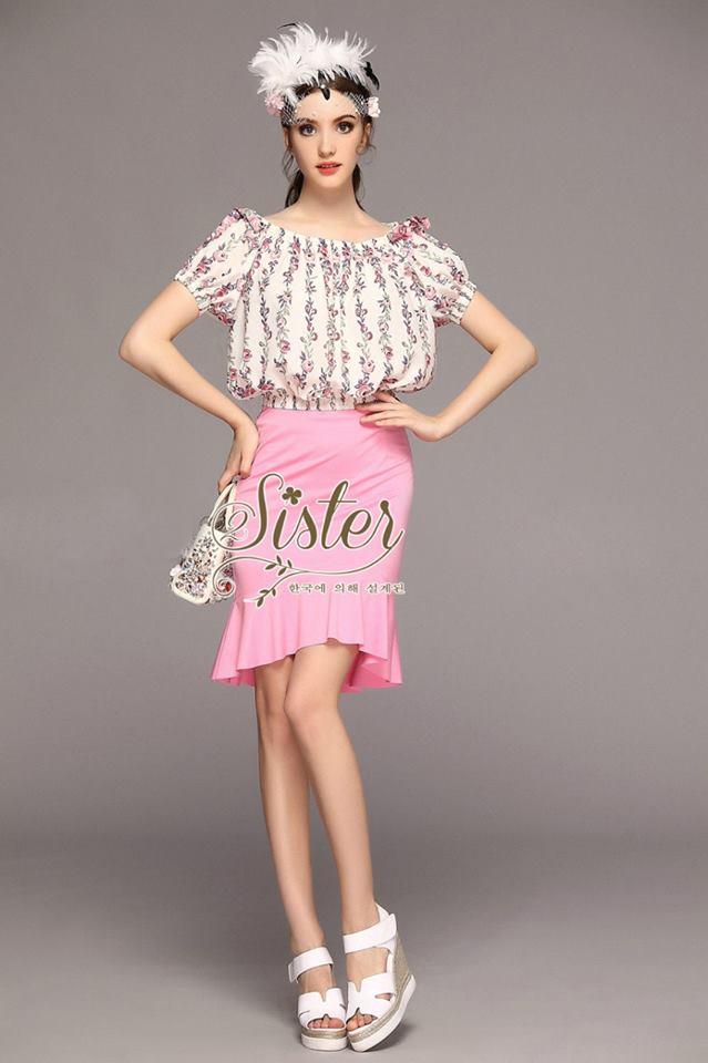 เสื้อผ้าเกาหลี พร้อมส่งเซ็ตเสื้อ+กระโปรง ตัวเสื้อผ้าchiffonพิมพ์ลายดอกสวยเก๋