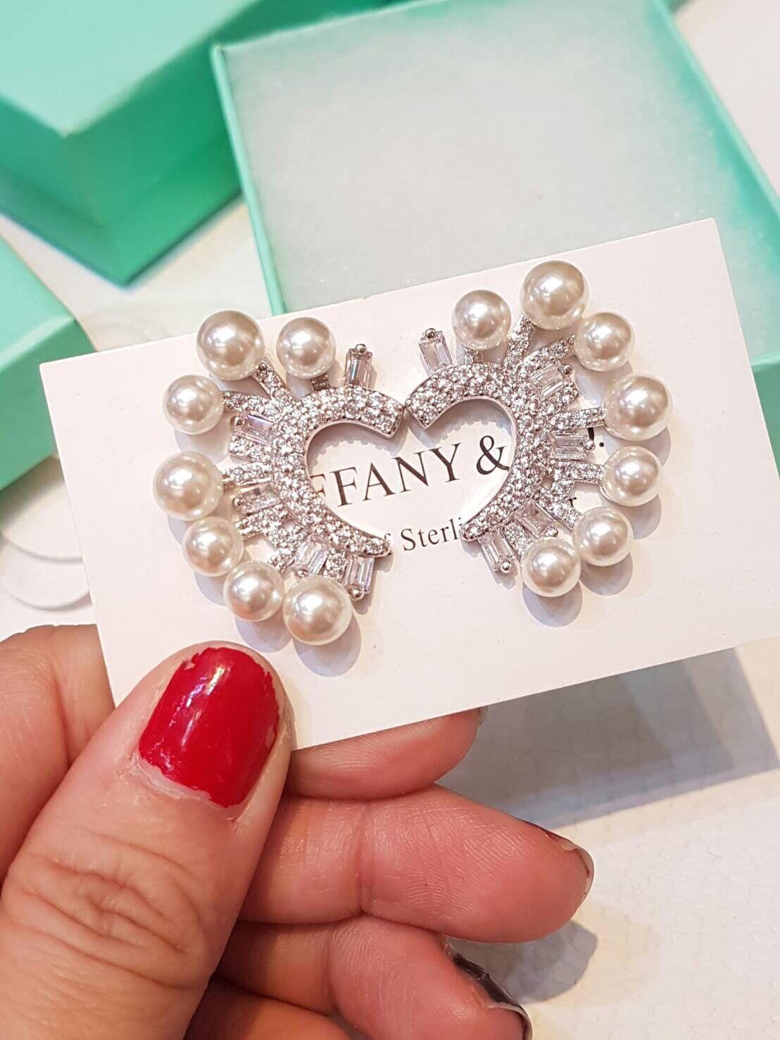 พร้อมส่ง Diamond with Pearl earring ต่างหูเพชรฝังแท้