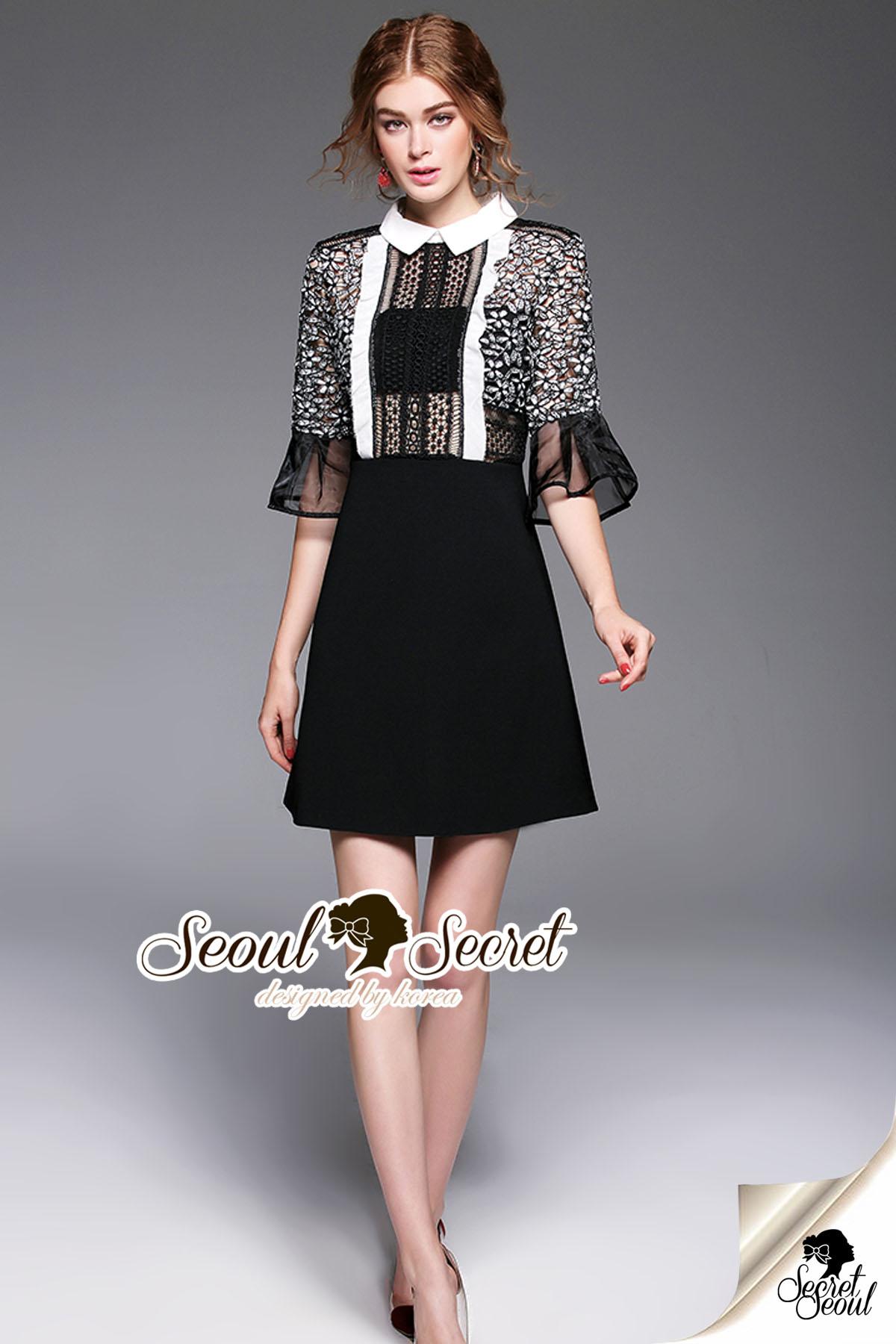 Whity Colar Blacky Flora Lace Dress
