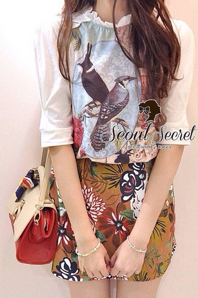 ( พร้อมส่งเสื้อผ้าเกาหลี) Set Little Bird match with Brown Skirt Flower Print by Seoul Scret