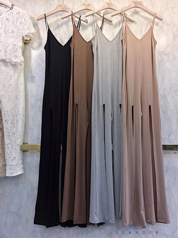 เสื้อผ้าแฟชั่นเกาหลีพร้อมส่ง Jumpsuits สายเดี่ยวขายาวผ่าหน้า