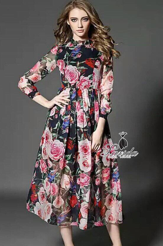 colorful rose printed long sleeve maxi dress