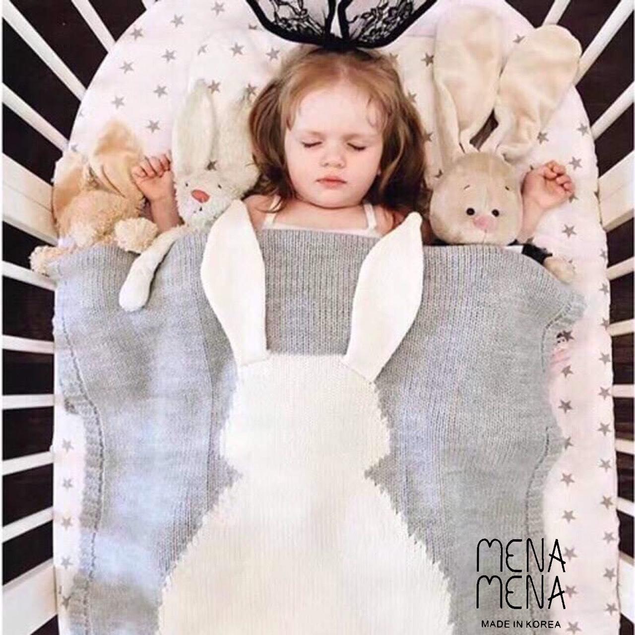 พร้อมส่ง ผ้าห่ม หรือผ้าปู กระต่ายน้อย งานนุ่มนิ่ม