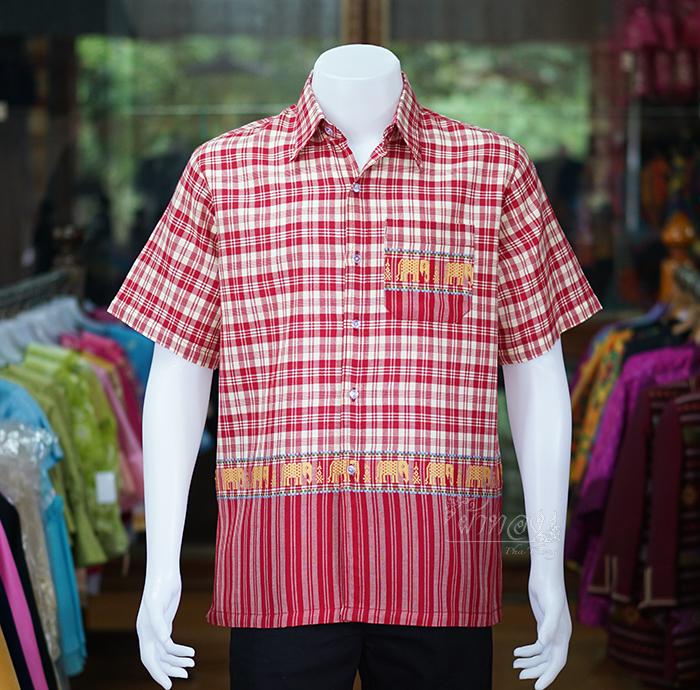 เสื้อเชิ้ตผ้าฝ้ายทอลายช้าง ไม่อัดผ้ากาว สีแดง-เหลืองอ่อน ไซส์ XL