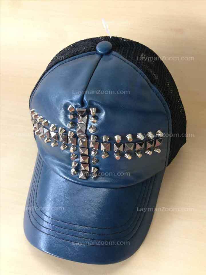 หมวกแก๊บหนังสีน้ำเงิน