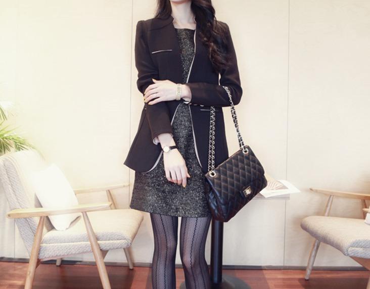 เสื้อสูทสไตล์เกาหลีแขนยาว สีดำ(ฺBlack)