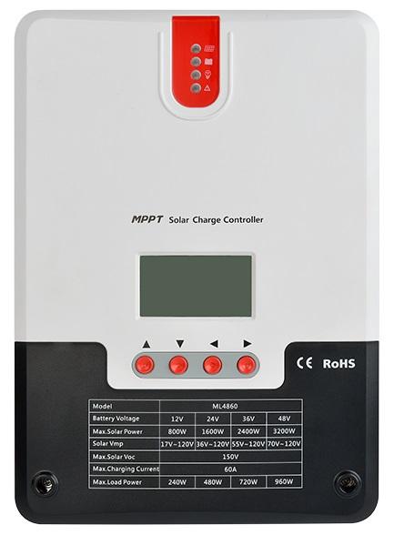ตัวควบคุมการชาร์จแบตเตอรี่ แบบ MPPT with LCD Display ขนาด 12/24/36/48V Auto 100V 60A