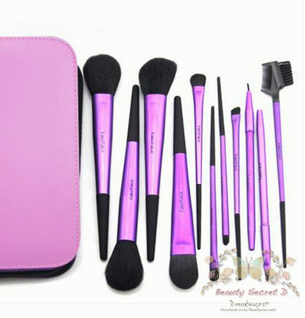 แปรงแต่งหน้า ชุดเซ็ท แปรงแต่งหน้า คุณภาพดี ขนอ่อนนุ่ม FakeFace professional makeup brush set แปรงแต่งหน้า/11ชิ้น - สีม่วงเมทาลิค