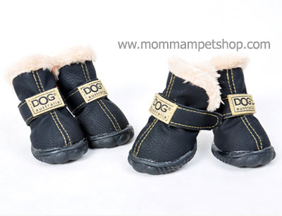รองเท้าสุนัข รองเท้าแมว สีดำแบบผ้ากันลื่น (4 ข้าง)