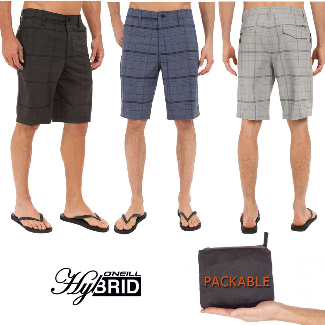 O'Neill Hybrid Freak Plaid Shorts ( Stowaway Pack able )