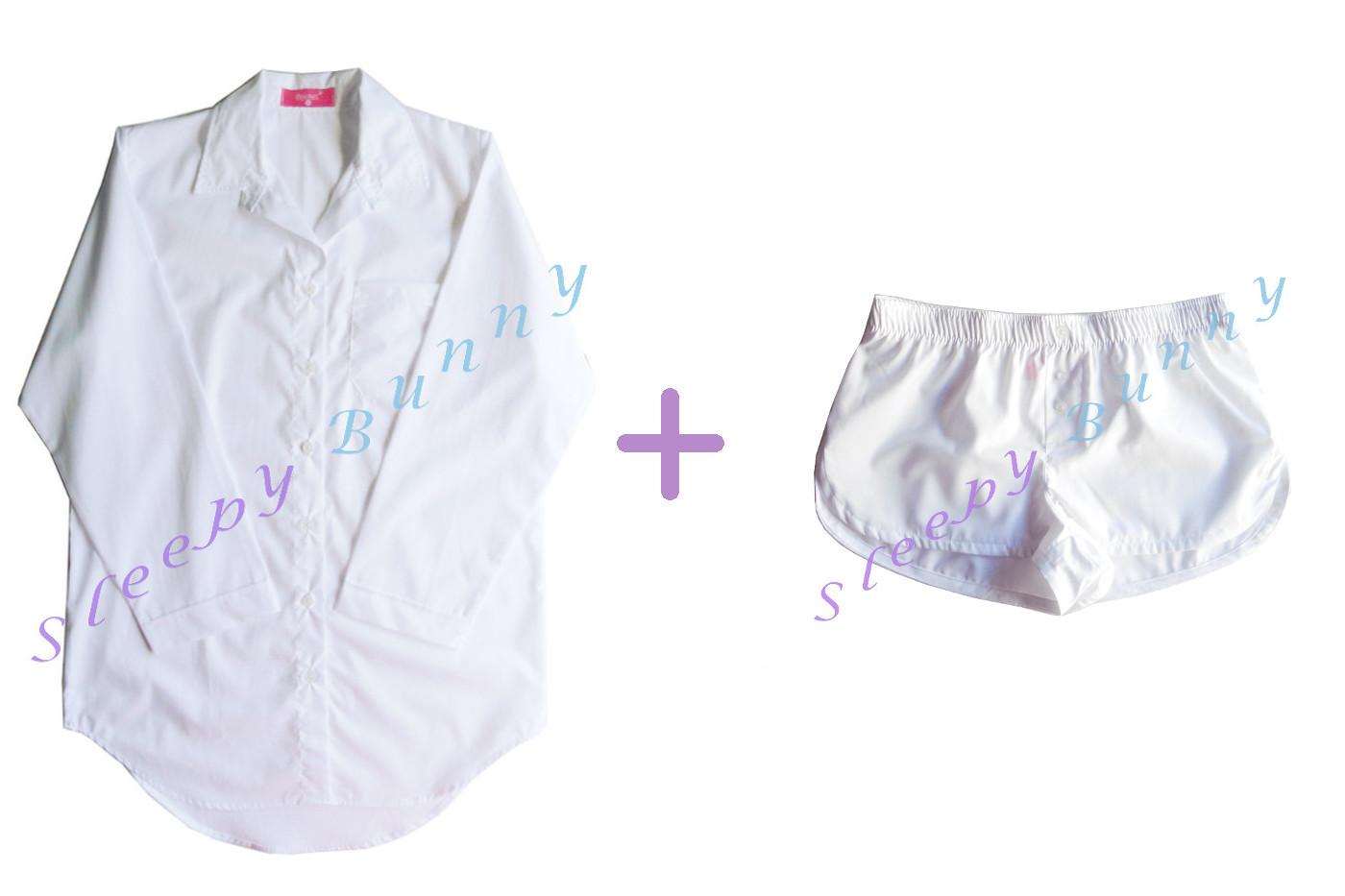 ขายแล้วค่ะ Promotion db5 lot3 set สีขาว ชุดนอนเดรสเชิ้ต (Size S) + boxer (Size S,M,L) --> Pajamazz