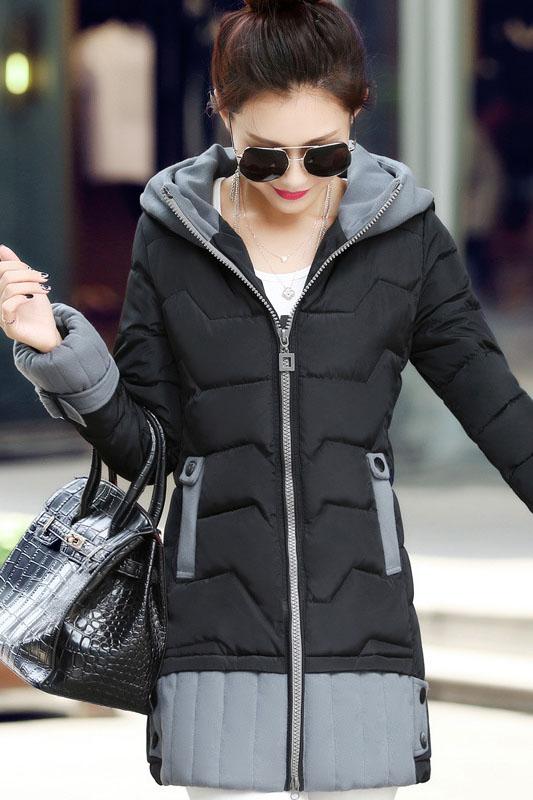 เสื้อโค้ทแฟชั่น พร้อมส่ง สีดำ ตัวยาว แต่งซิบรูดสีเทา แต่งปลายแขน และ ชายเสื้อด้วยสีเทา มีฮูทสุดเท่ห์ แฟชั่นมาใหม่สไตล์เกาหลี