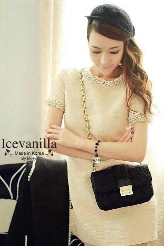 New arrival original import Premium Fabric & Quality Liza pearl jewels stitch Luxury Dress