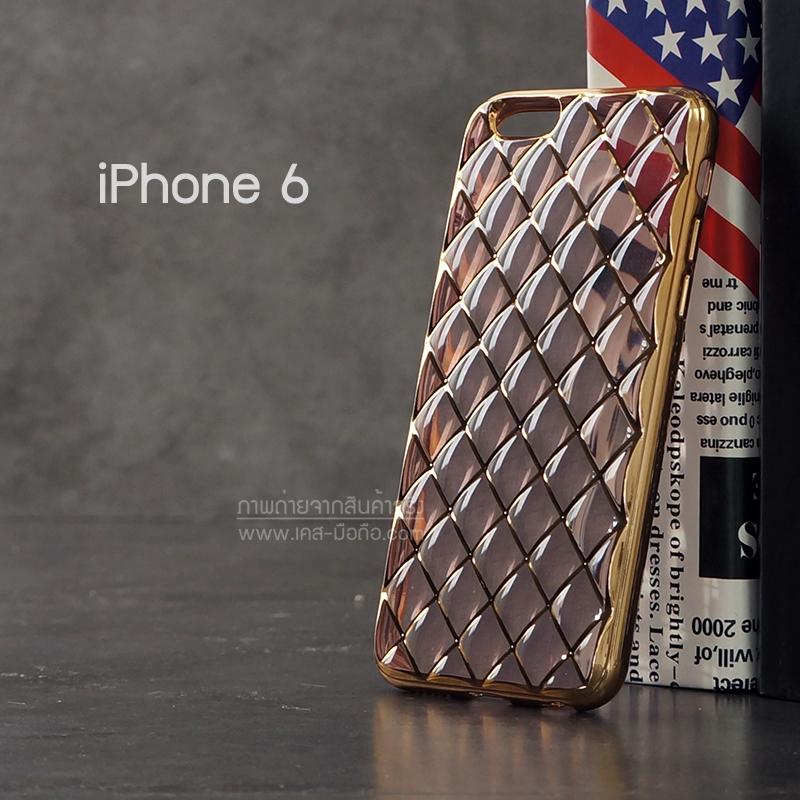 เคส iPhone 6 เคสนิ่ม TPU ลายข้าวหลามตัดขอบสีทอง สีชมพู