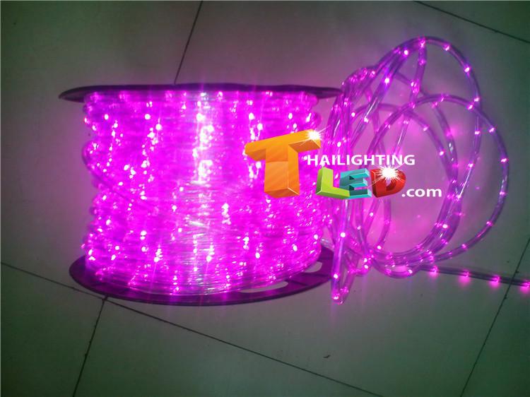 ไฟสายยาง(ท่อกลม) LED 100 m สีชมพู