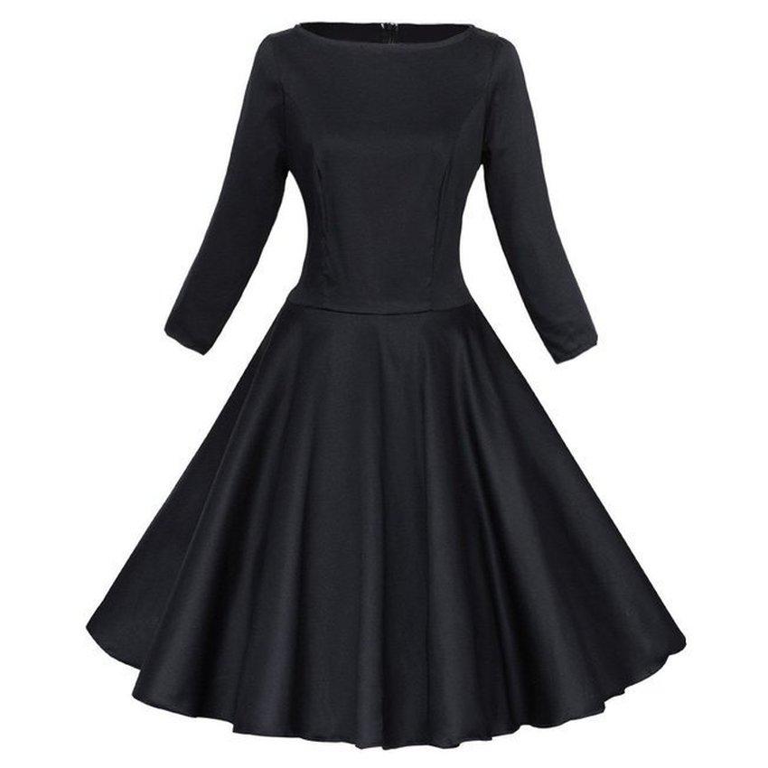 Mysika Vintage Retro 3/4 Sleeve Rockabilly Large Swing Red Ladies Dressesfor Women Black (Intl)