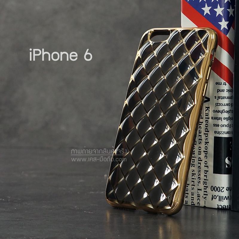 เคส iPhone 6 เคสนิ่ม TPU ลายข้าวหลามตัดขอบสีทอง สีดำ