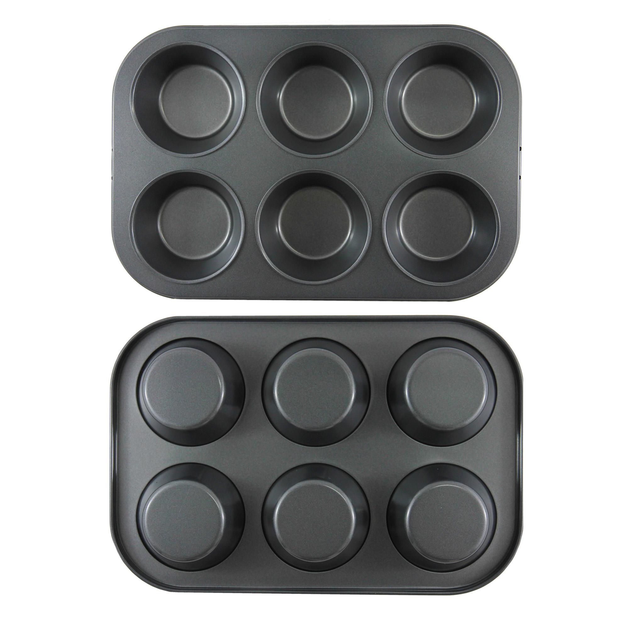 พิมพ์มัฟฟิน คัพเค้ก สีดำ non stick 6 หลุม 290x195x32 mm (YT061)