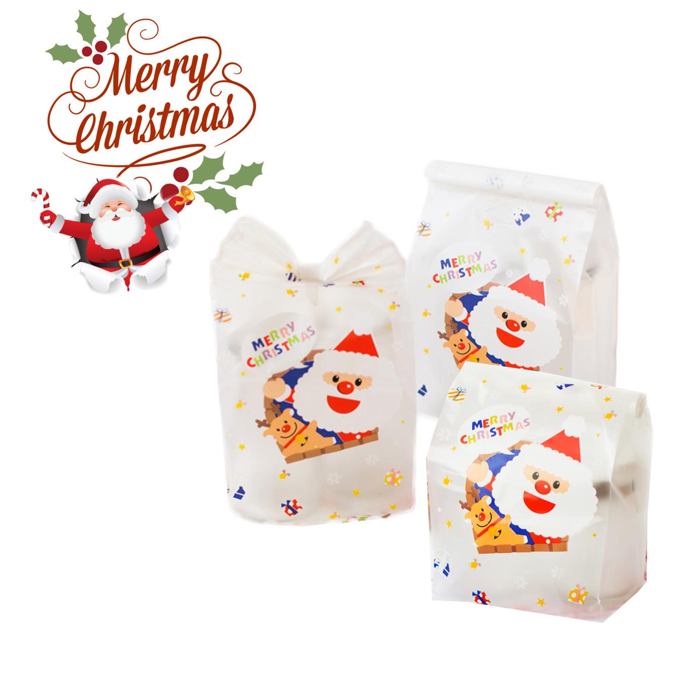 ถุงคุกกี้ มีก้น FACE SANTA (merry christmas 100 ใบ)