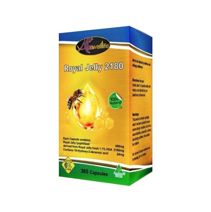 Auswelllife Royal Jelly 2180 mg. ออสเวลไลฟ์ โรยัล เจลลี่ บรรจุ 365 แคปซูล ราคา 2,450 บาท ส่งฟรี