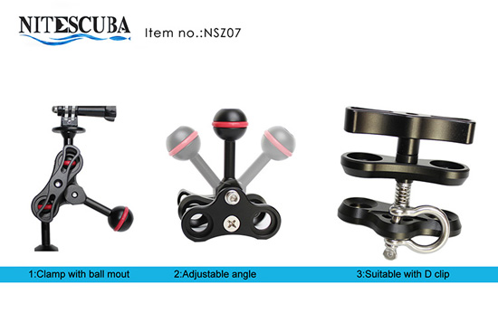 NiteScuba Multipurpose Clamp With Ball Mount Set