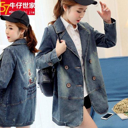FW6008015 เสื้อแจ็กเก็ตยีนส์ผู้หญิงเกาหลีคอปกสูทตัวสั้นแขนยาว แฟชั่นเกาหลี (พรีออเดอร์)