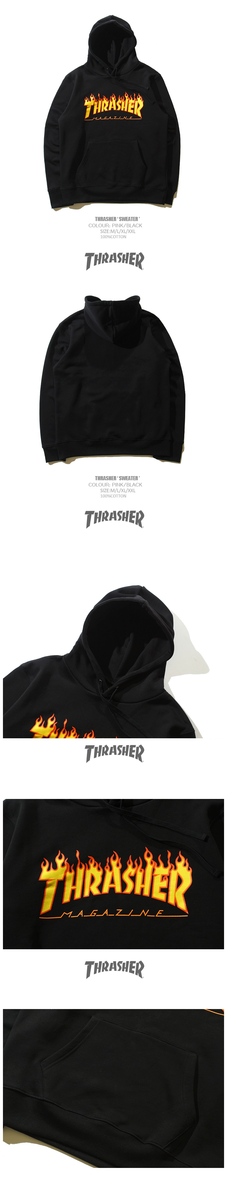 เสื้อฮูด THRASHER FLAM LOGO 100% pre-shrunk cotton T-shirt emblazoned with our classic Thrasher magazine flame logo