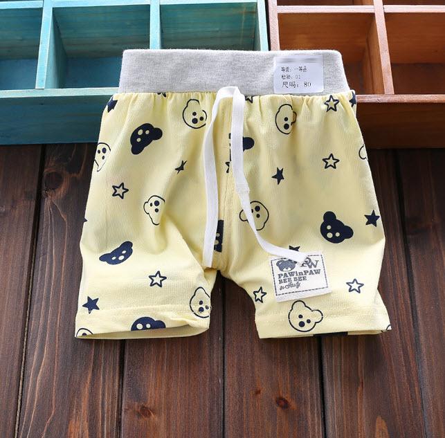 **กางเกงขาสั้นลายหน้าหมีเล็ก(ลายหมี) | เหลือง| 80-90-100-110 | 4ตัว/แพ๊ค | เฉลี่ย 60/ตัว