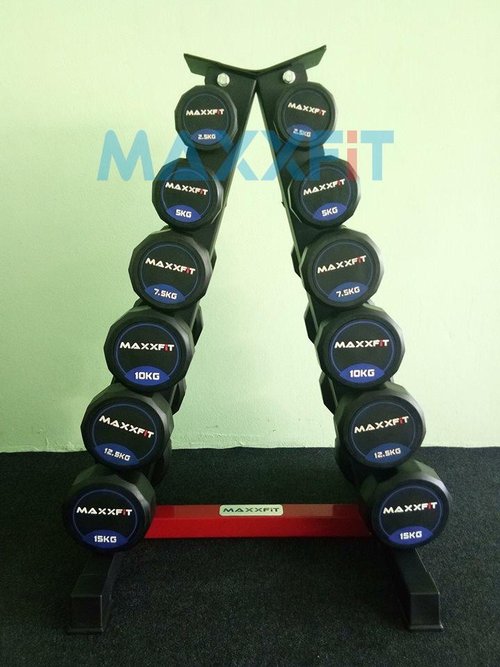 ชุดดัมเบล MAXXFiT ขนาด 2.5 - 15 KG. (6 คู่) พร้อมชั้นวางทรงสามเหลี่ยมสีดำ-แดง วางได้ 6 คู่
