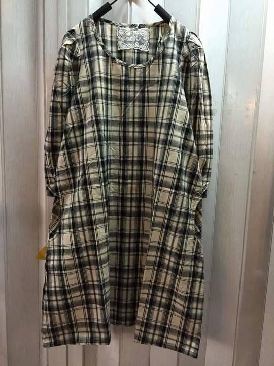 megurumi เสื้อผ้าฝ้ายทอลายเส้น สก้อต สไตล์ญี่ปุ่น