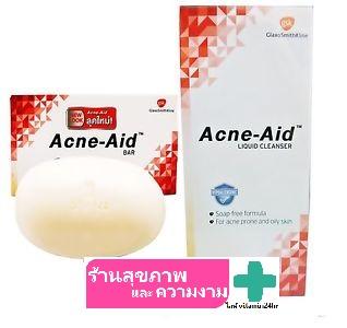 สบู่เหลว Acne-Aid liquid cleanser ขนาด 100 ml + สบู่ก้อน Acne-Aid bars 100g