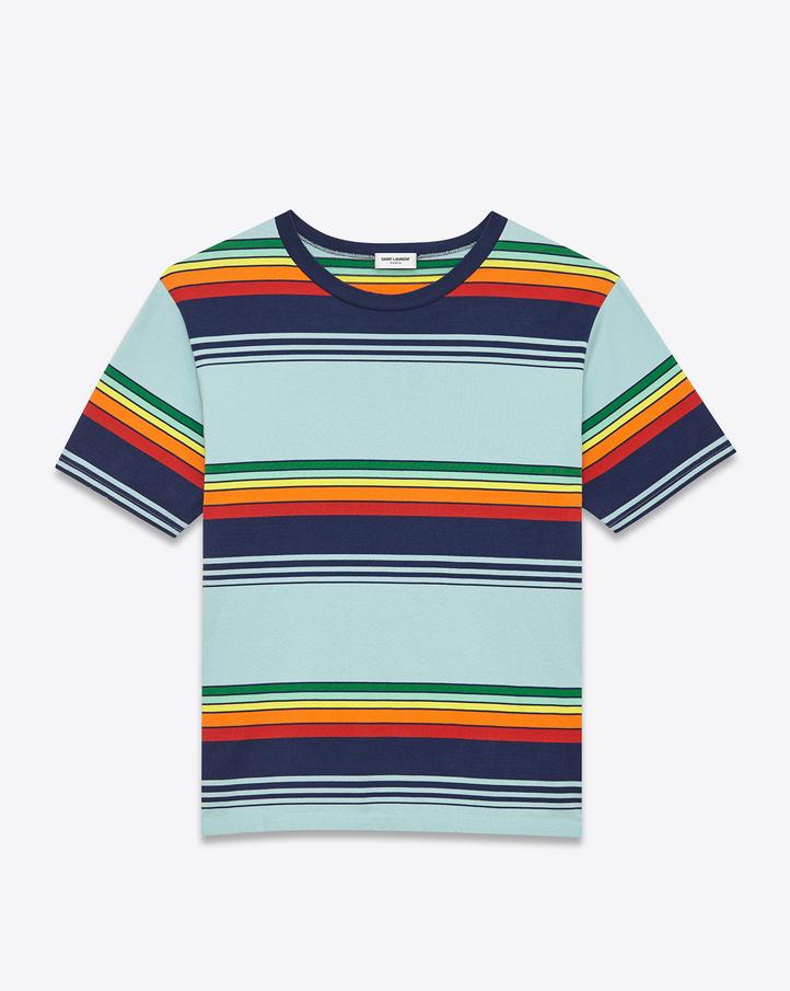 เสื้อยืด Saint Laurent Striped Crew Neck T Shirt.