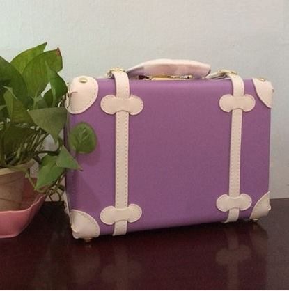 กระเป๋าเดินทางวินเทจ รุ่น spring colorful ม่วงคาดขาว ขนาด 12 นิ้ว