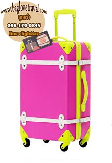 กระเป๋าเดินทางวินเทจ รุ่น colorful ชมพูคาดเขียว ขนาด 22 นิ้ว