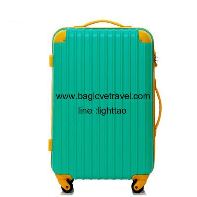 กระเป๋าเดินทางล้อลากไฟเบอร์ รุ่น colorful เขียวขอบเหลือง ขนาด 20/24/28 นิ้ว