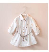 **เสื้อตัวยาวสีขาวดอกไม้เล็กพร้อมเชือก   ตามรูป   100-140   5ตัว/แพ๊ค   เฉลี่ย 175/ตัว