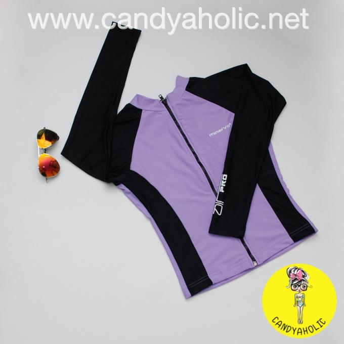 [Size M,L] เสื้อว่ายน้ำ แขนยาว ซิปหน้า รุ่น MINERVA AIR PRO (สีม่วงแขนสีดำ)