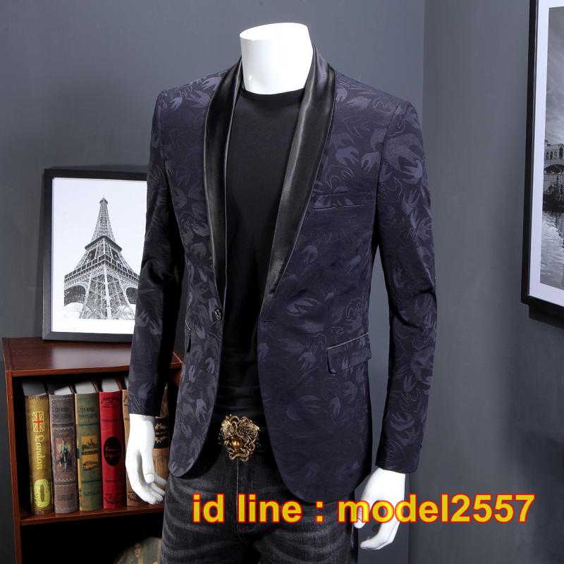 JM6102014 เสื้อสูทลำลองผู้ชายเสื้อสูทงานเลี้ยงพิมพ์ลายแบบตะวันตก